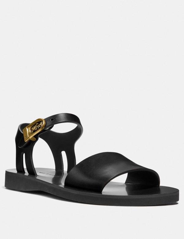 Coach Ankle Strap Sandal In Black