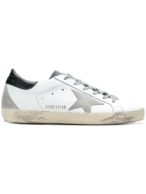 Golden Goose Superstar Lace-up Sneakers In White/ Grey/ Blue