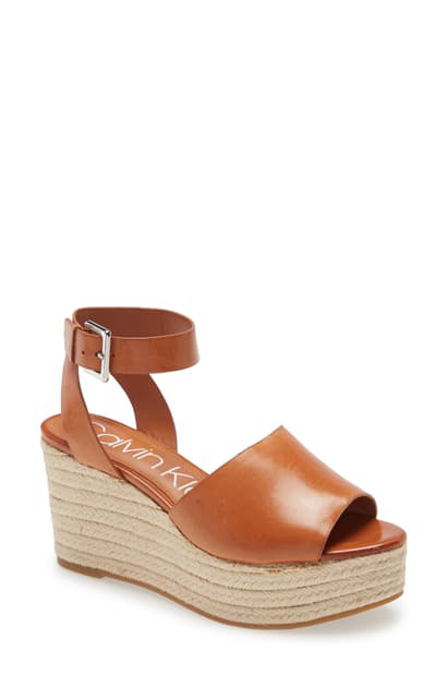 Calvin Klein Women's Chyna Espadrille Wedge Sandals Women's Shoes In Brown Leather