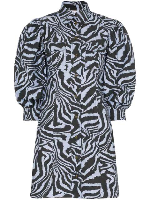 Ganni Pintucked Tiger-print Cotton-poplin Mini Dress In Blue