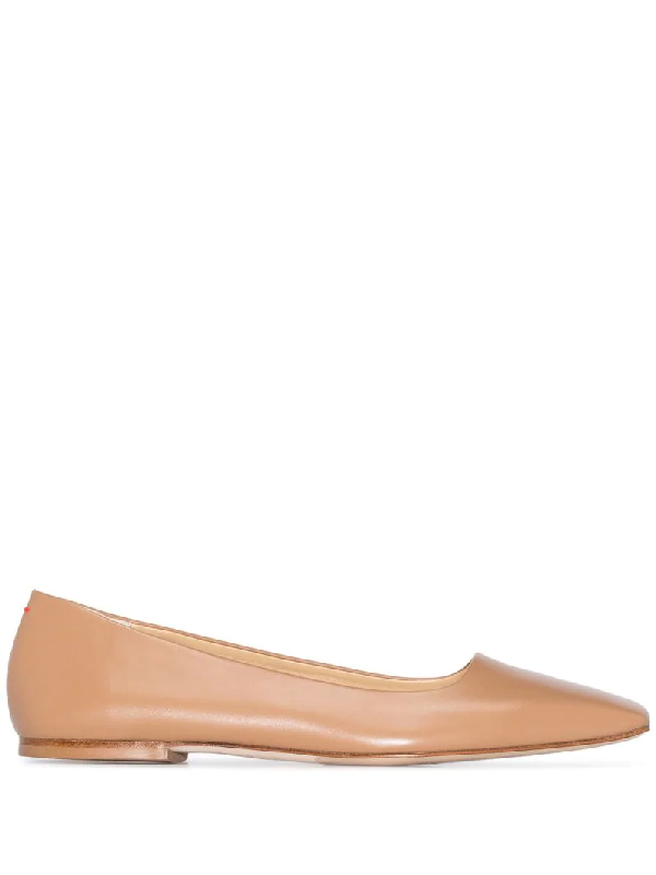 Aeyde Gina Square-toe Ballerina Shoes In Brown