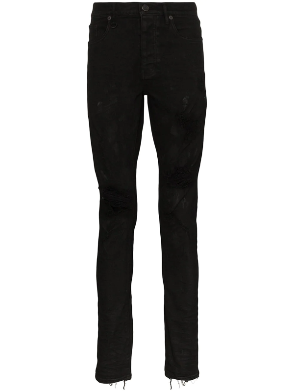 Purple Brand Slim Fit Overdyed Jeans In Black Oil Spill