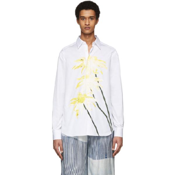 Loewe Slim-fit Printed Cotton-poplin Shirt In 2100 White