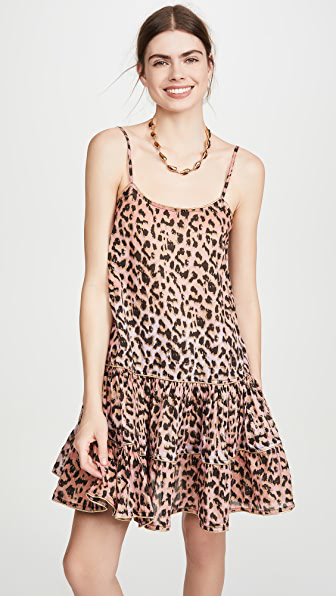 Juliet Dunn Strappy Dress In Red/pink Leopard