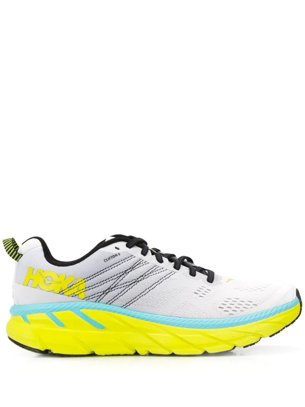 Hoka One One Clifton 6 Embroidered Mesh Running Sneakers In Grey