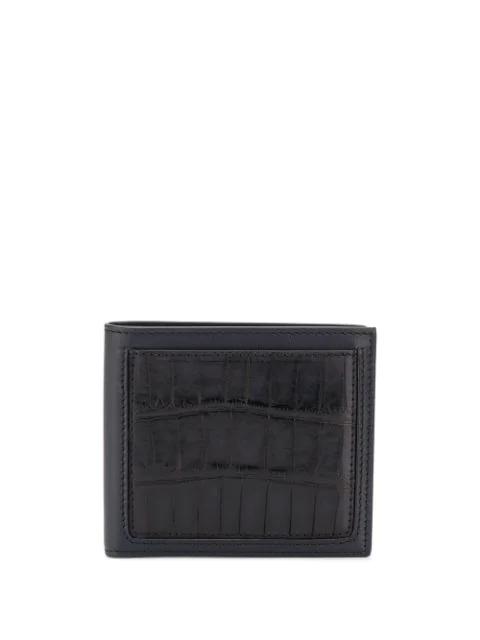 Ermenegildo Zegna Crocodile-effect Bi-fold Wallet In Blue