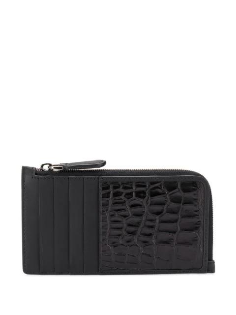 Ermenegildo Zegna Crocodile-effect Cardholder In Black
