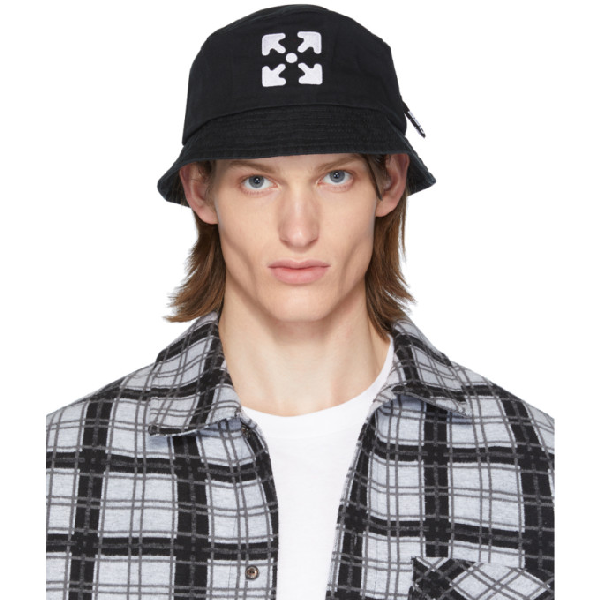 Off-white Logo Embroidery Cotton Canvas Bucket Hat In Black