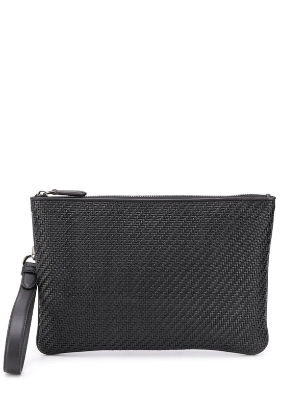 Ermenegildo Zegna Woven Pouch Bag In Black