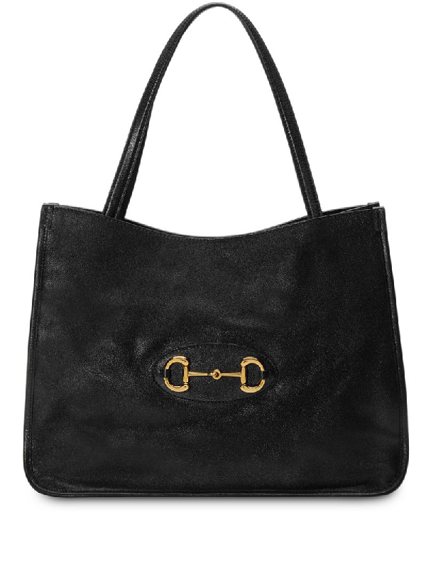 Gucci 1955 Horsebit Medium Leather Tote In Black