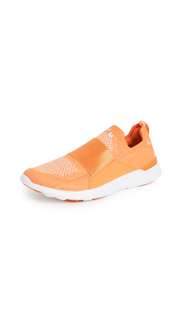 Apl Athletic Propulsion Labs Techloom Bliss Peach Stretch-knit Sneakers In Orange/metallic Pearl/white