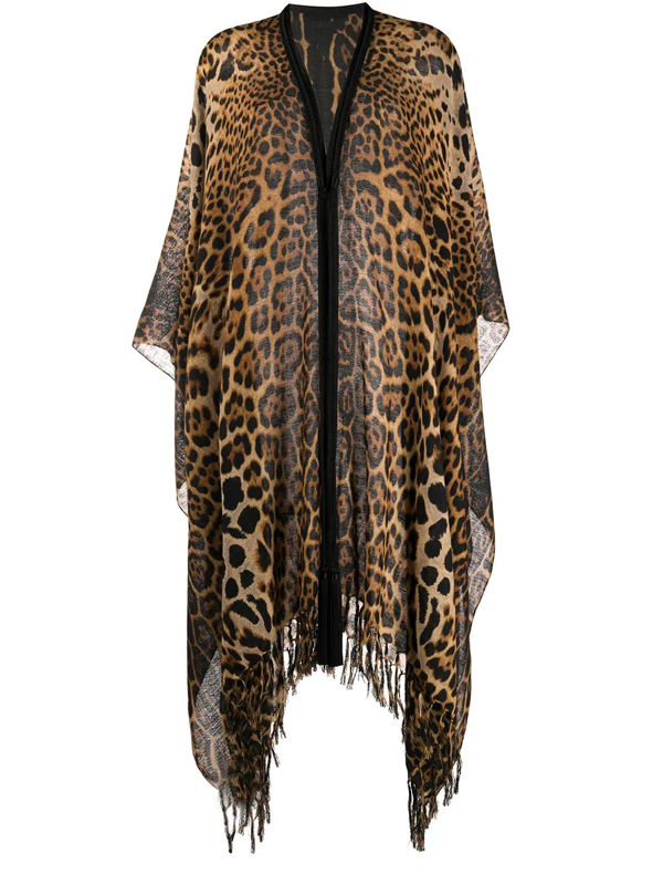 Saint Laurent Animalier Cape In Brown And Black