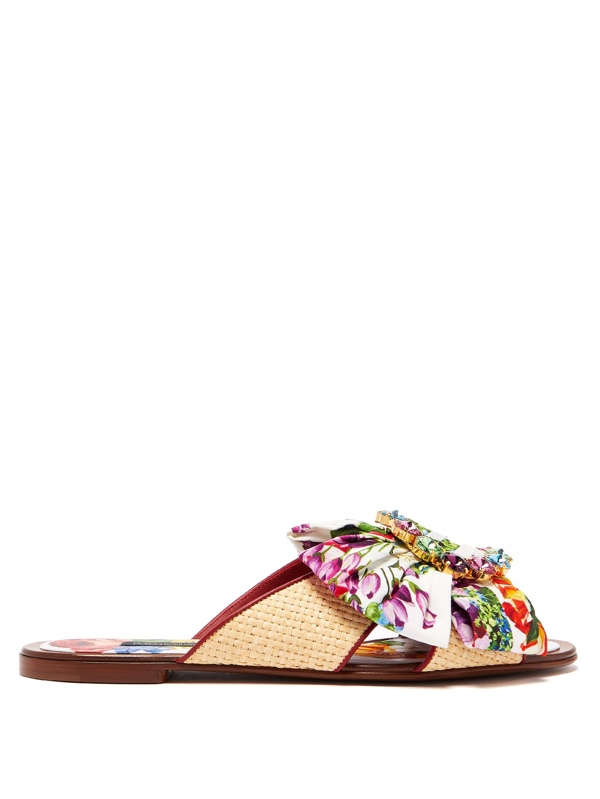 Dolce & Gabbana Crystal-buckle Floral-print Satin & Raffia Slides In Floral Print