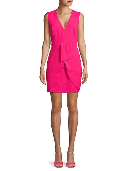 Bcbgmaxazria V-neck Sheath Dress In Pink Peacoat