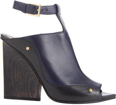 Maiyet Plated-Heel T-Strap Sandals In Dark Blue