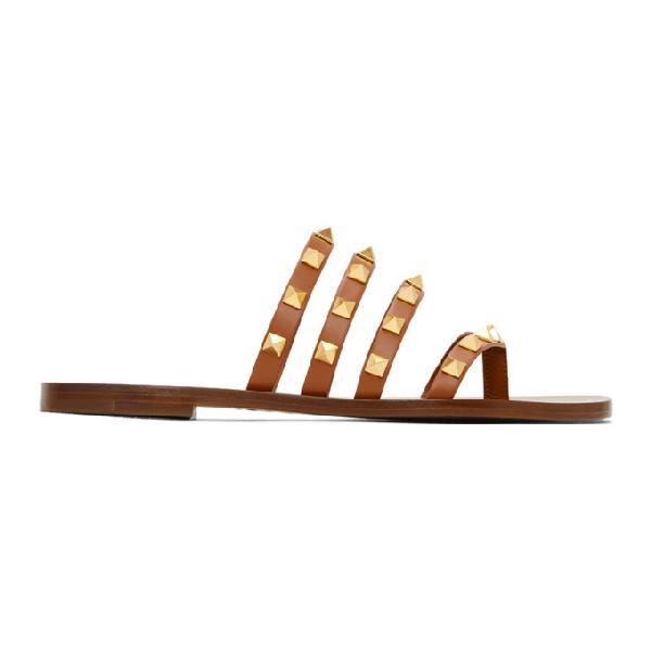 Valentino Garavani 10mm Rockstud Leather Thong Sandals In Brown
