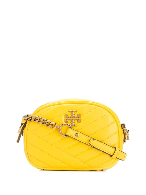 Tory Burch Kira Small Quilted Leather Camera Crossbody In Yellow