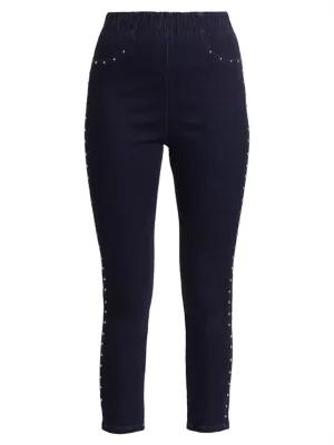 Joan Vass Women's Studded Skinny Jeans In Blue