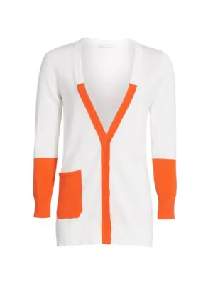 Joan Vass Women's Colorblock Longline Cardigan In Orange Combo