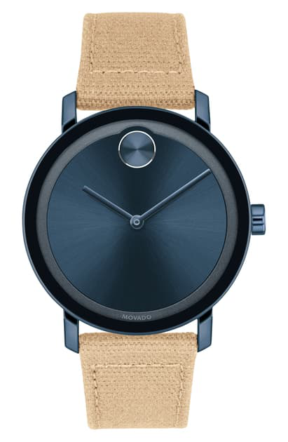 Movado Bold Evolution Stainless Steel Canvas-strap Watch In Tan/ Blue