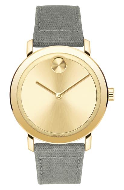Movado Bold Evolution Canvas Strap Watch, 40mm In Grey/ Gold