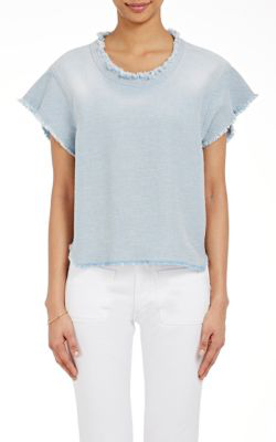 Iro Florie Fringed Cropped Top In Light Blue