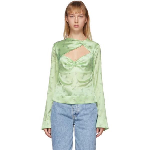 Ganni Cutout Ruched Floral-print Stretch-silk Satin Top In Pattina Gre