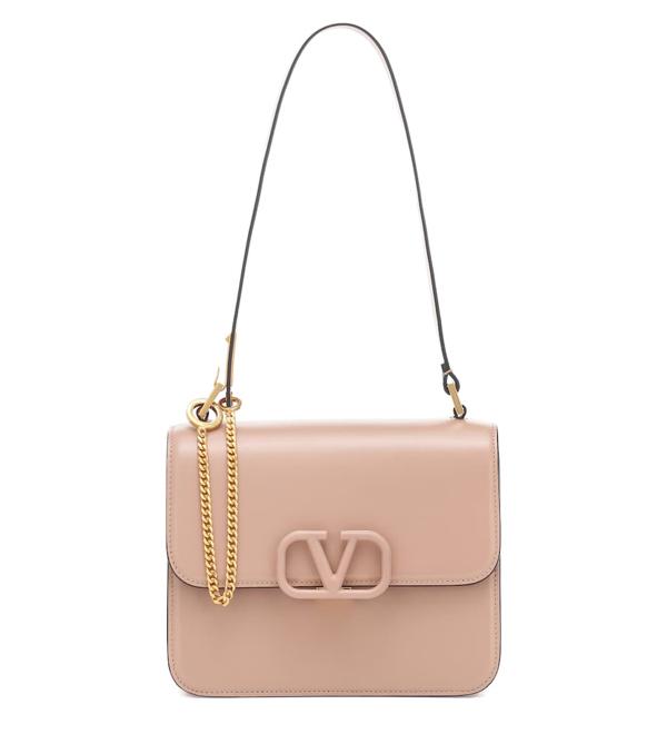 Valentino Garavani V-sling Small Leather Shoulder Bag In Pink