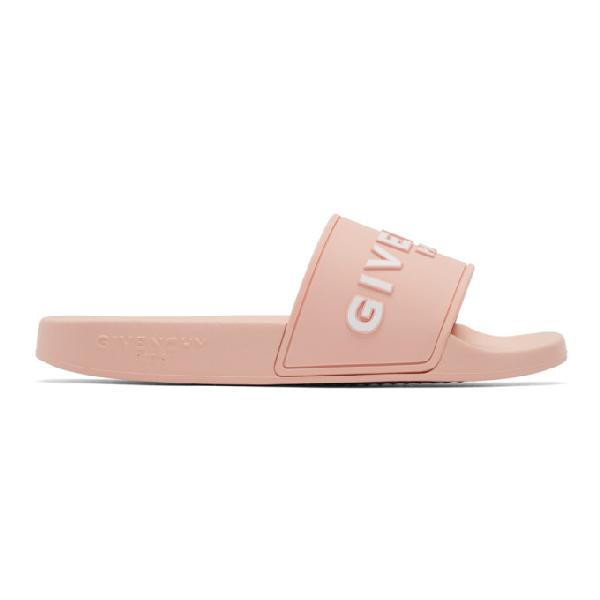 Givenchy Logo-embossed Rubber Slides In Pink