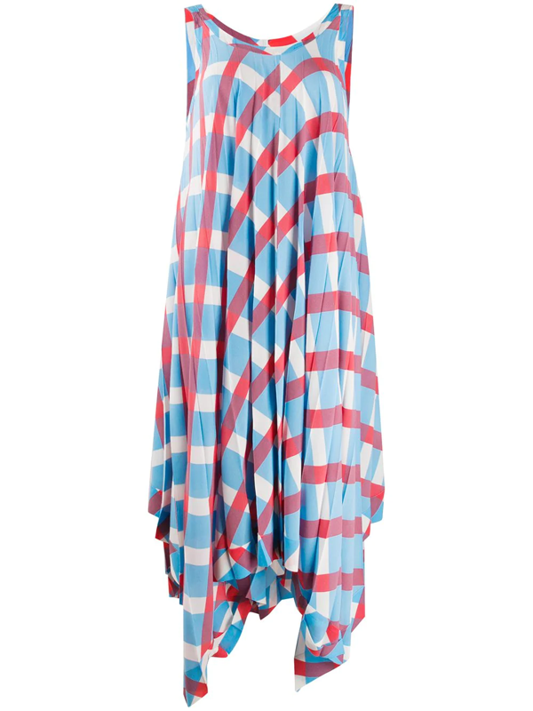 Issey Miyake Long Pleated Dress W/s Crew Neck In Blue