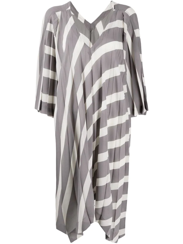 Issey Miyake Pleated Tunic Dress 3/4s V Neck In Grey