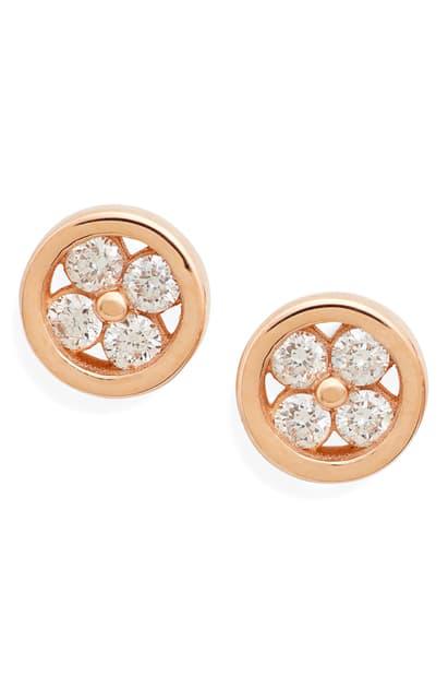 Dana Rebecca Designs Styra Reese Quatrefoil Stud Earrings In Rose Gold/ Diamond