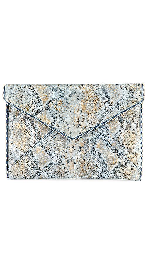 Rebecca Minkoff Leo Small Metallic Leather Clutch In Cement Blue Multi