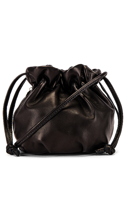 Clare V Emma Leather Drawstring Bag In Black