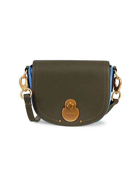 Longchamp Wild Leather & Suede Crossbody Bag In Olive