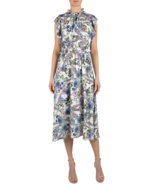 Julia Jordan Floral High Neck Ruffle Sleeve Dress In Ivory Multi
