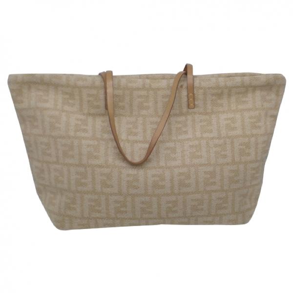 Fendi Roll Bag  Beige Wool Handbag