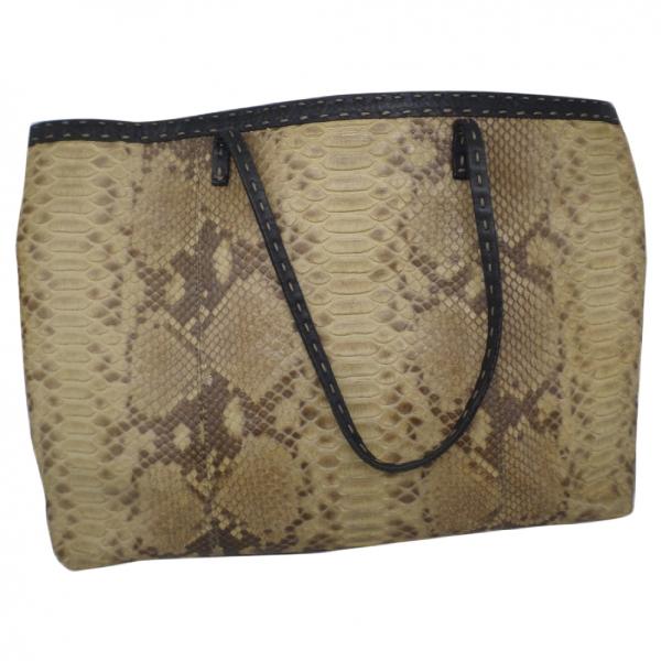 Fendi Roll Bag  Beige Python Handbag