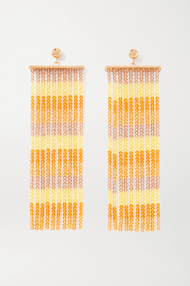 Jacquemus Orange Les Rideaux Beaded Drape Earrings
