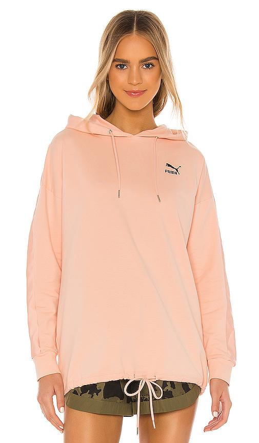 Puma Tfs Satin-panel Hooded Sweatshirt In Pink Sand