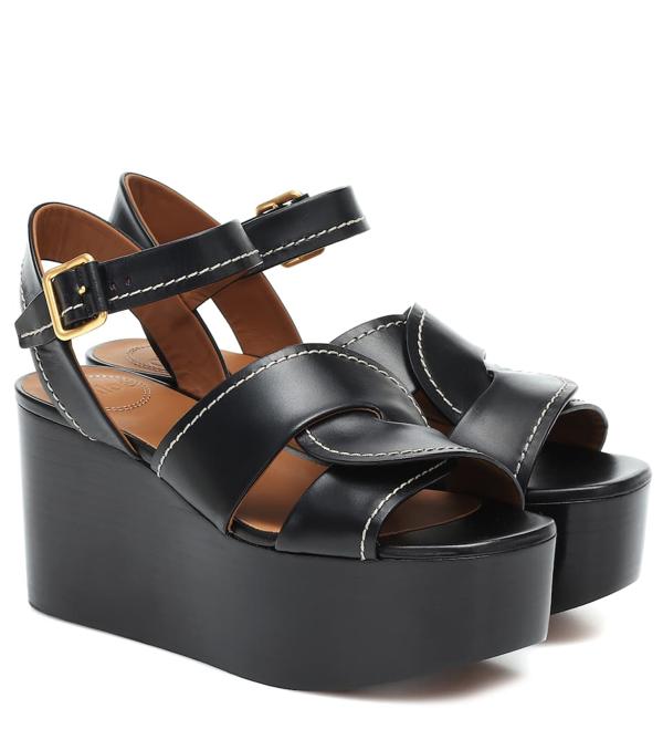 Chloé Candice Snake Embossed Leather Platform Sandal In Black