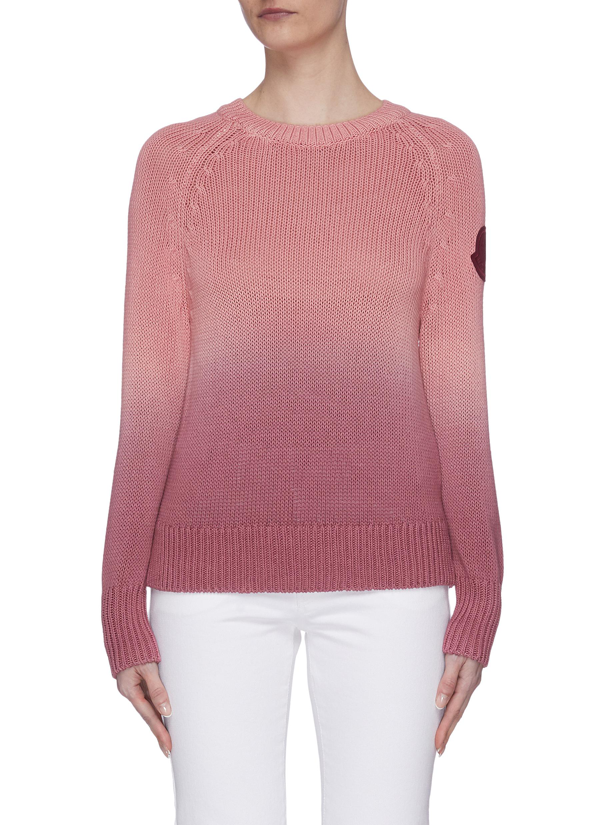 Moncler Leather Sleeve Patch Radiant Rib Knit Sweater In Pink