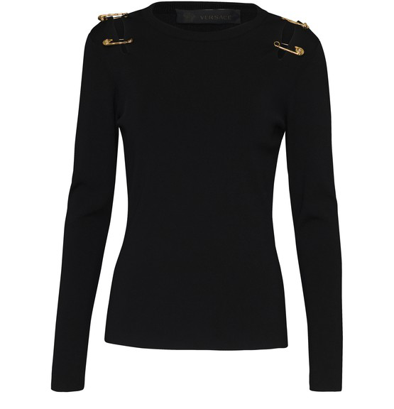 Versace Knitted Jumper In Black