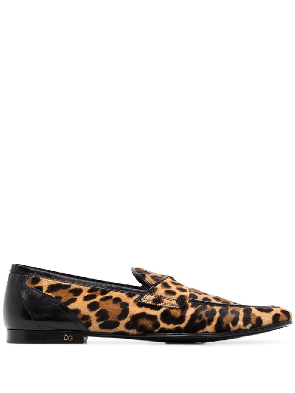 Dolce & Gabbana Leopard Print Slippers With Pony Hair Effect In Brown