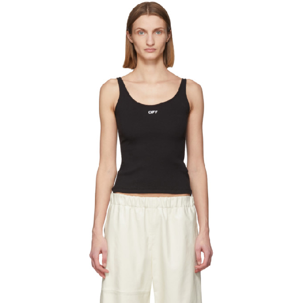 Off-white Off Print Ribbed Cotton Tank Top In Black/white