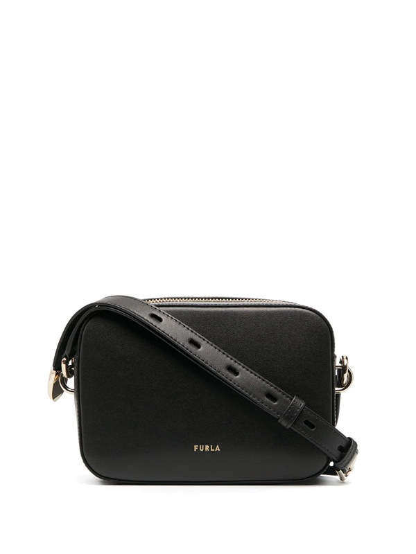 Furla Block Leather Crossbody Bag In Black