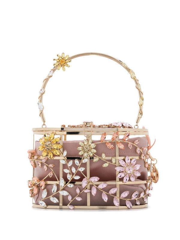 Rosantica Holli Sofia Crystal-embellished Top Handle Bag In Gold