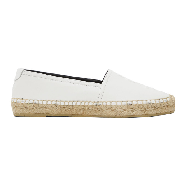 Saint Laurent Monogram Espadrilles In Lambskin In 9030 White