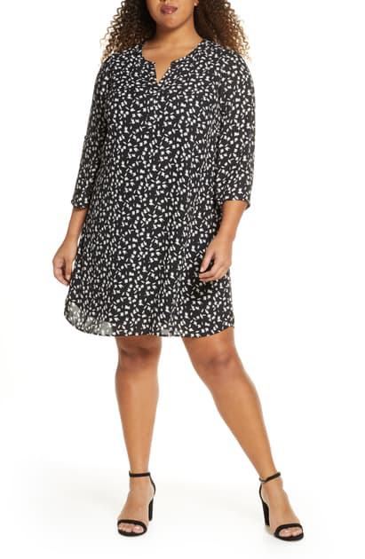 Daniel Rainn Plus Belted Printed Dress In Black