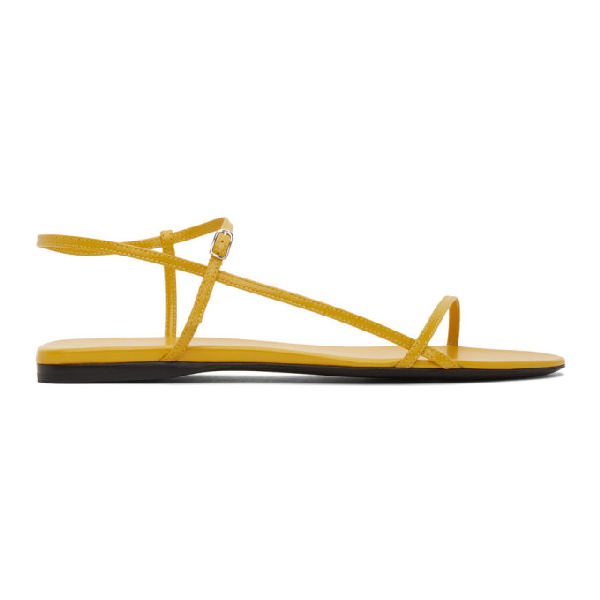 The Row Nude Criss-crossed Leather Sandals In Mus Mustard